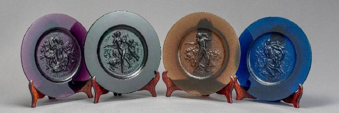 Set of Four Daum Pate de Verre Allegorical Plates