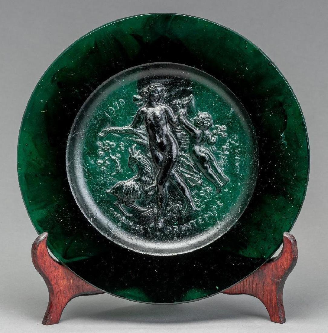 Set of Four Daum Pate de Verre Allegorical Plates - 5
