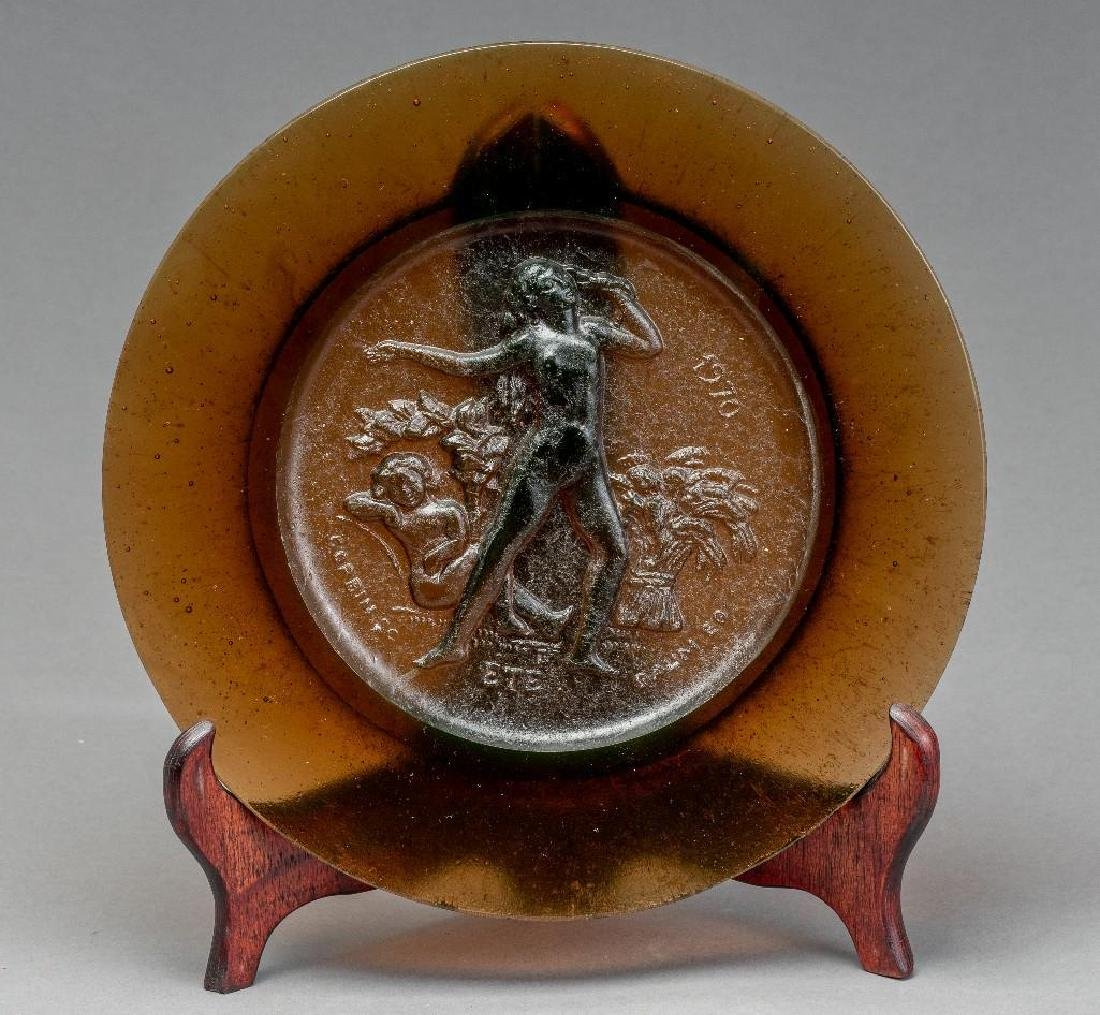 Set of Four Daum Pate de Verre Allegorical Plates - 6