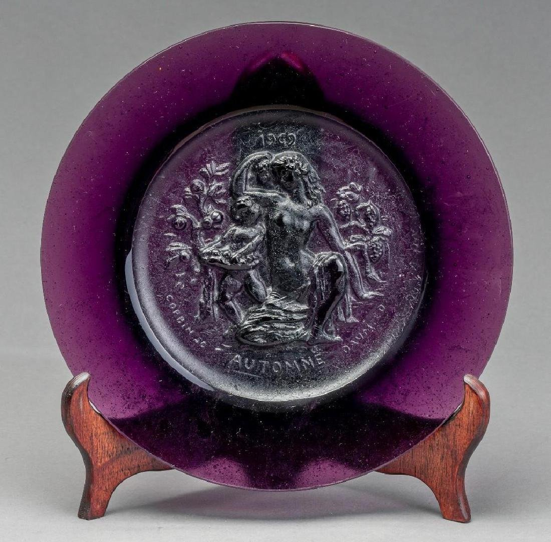 Set of Four Daum Pate de Verre Allegorical Plates - 7