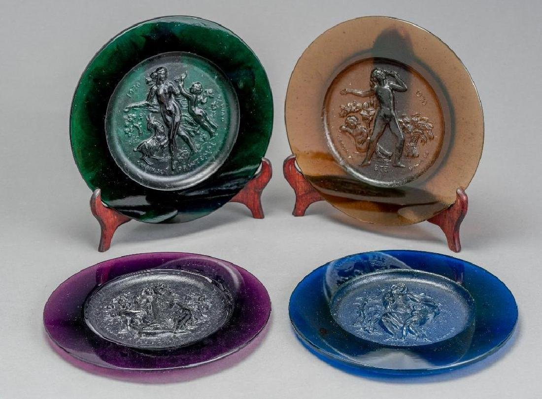 Set of Four Daum Pate de Verre Allegorical Plates - 9
