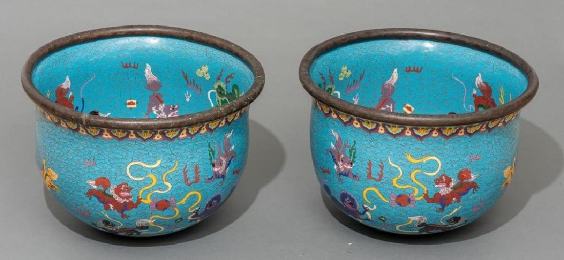 Chinese (ca. 19/20th c.), Pair of Cloisonne Fish Bowls