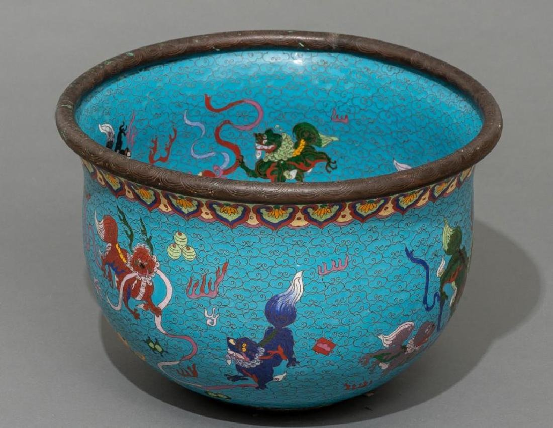 Chinese (ca. 19/20th c.), Pair of Cloisonne Fish Bowls - 3
