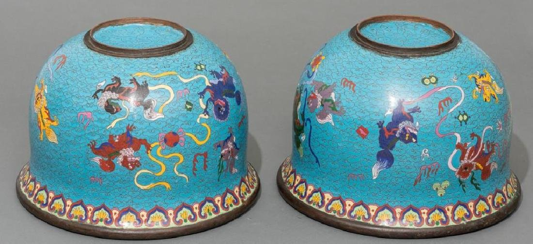 Chinese (ca. 19/20th c.), Pair of Cloisonne Fish Bowls - 7