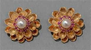 14k Gold  Ruby Flower Style Earrings
