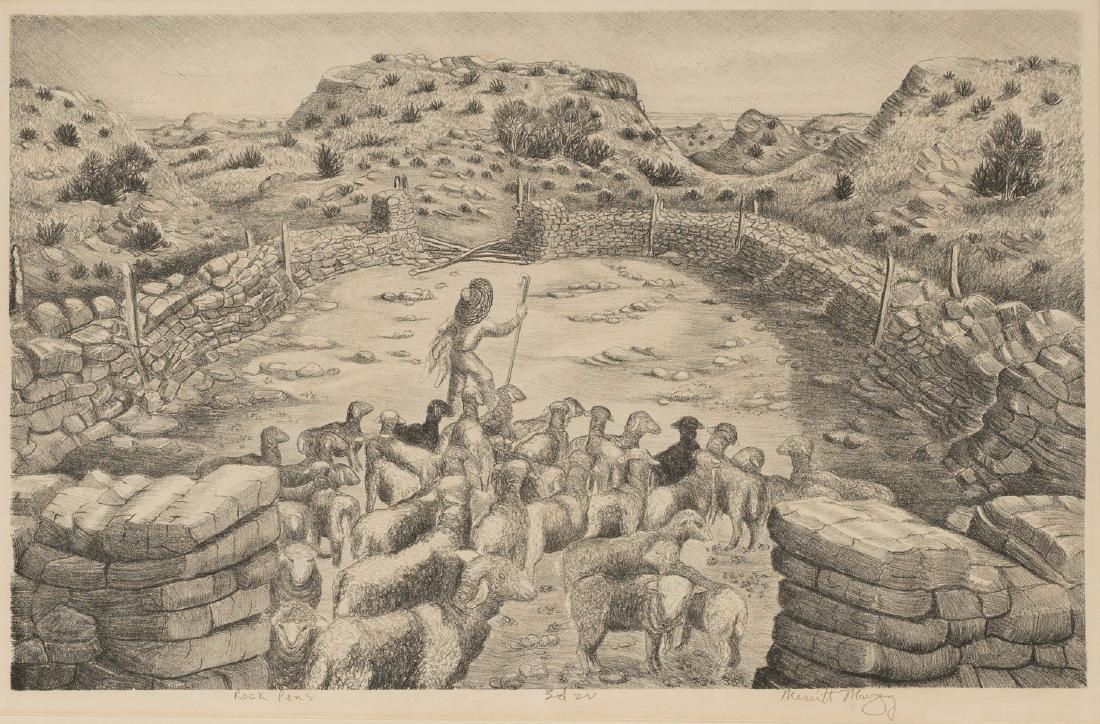 """Merritt Mauzey (1897-1973), """"Rock Pens"""", lithograph,"""