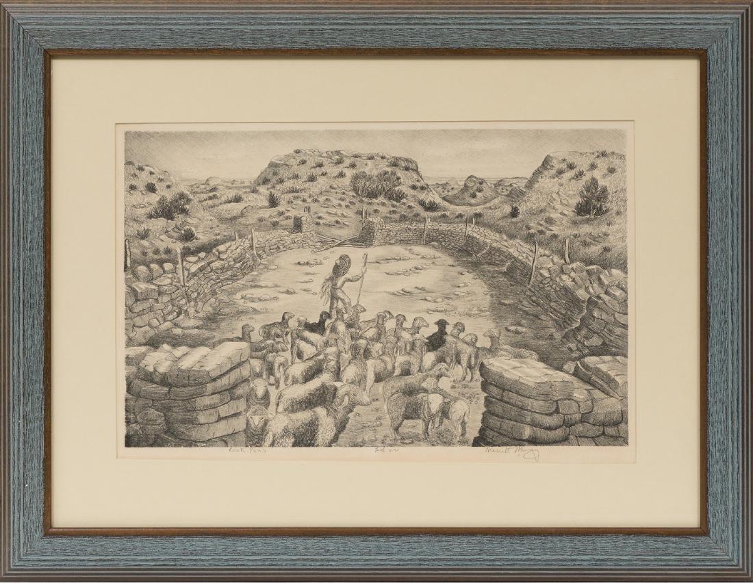 """Merritt Mauzey (1897-1973), """"Rock Pens"""", lithograph, - 2"""