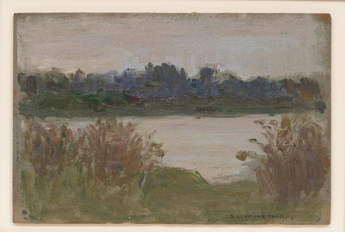 Seymour Thomas (1868-1956), Lake, oil on board, 4.5 x