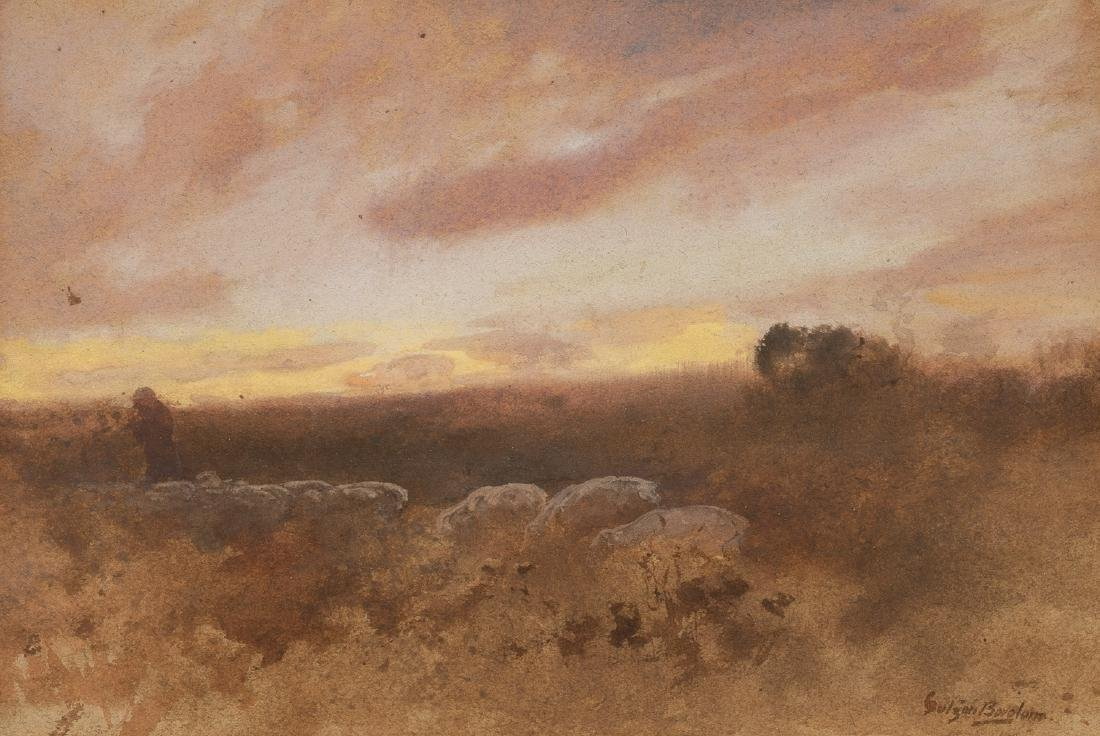 Gutzon Borglum (1867-1941), Herding Scene, watercolor,
