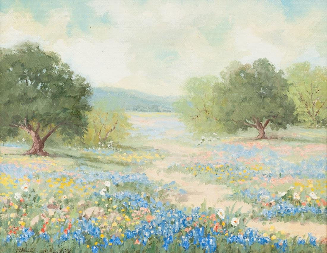 "Hazel Massey (1907-1990), ""Bluebonnets and Oaks"", oil"
