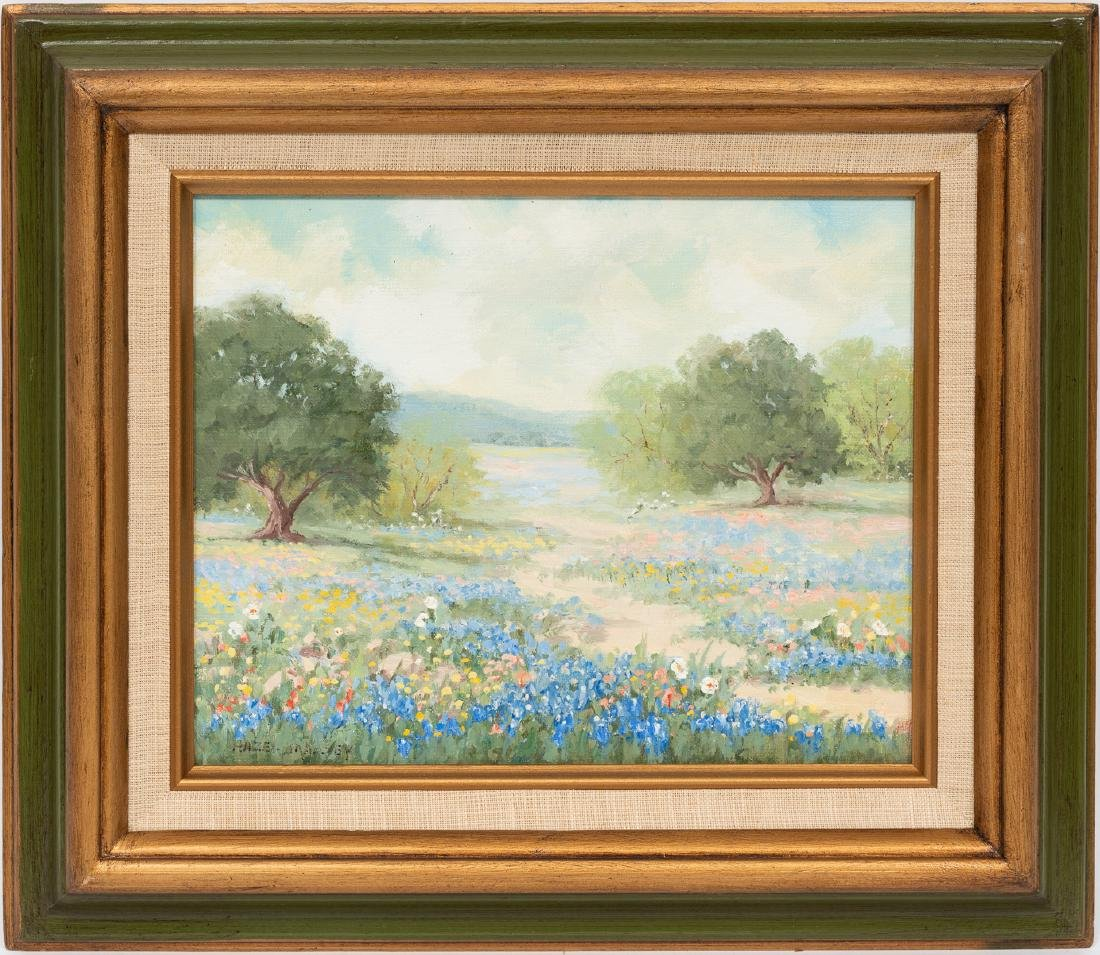 "Hazel Massey (1907-1990), ""Bluebonnets and Oaks"", oil - 2"