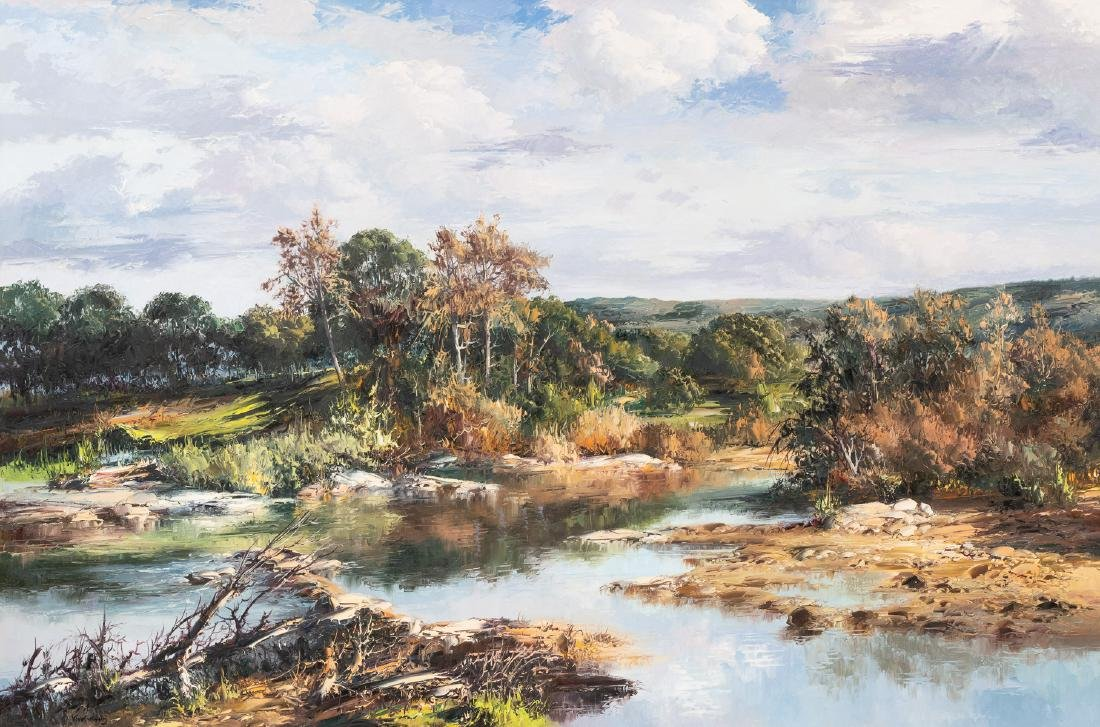 "Jose Vives-Atsara (1919-2004), ""The Creek"" oil 40 x 60"""