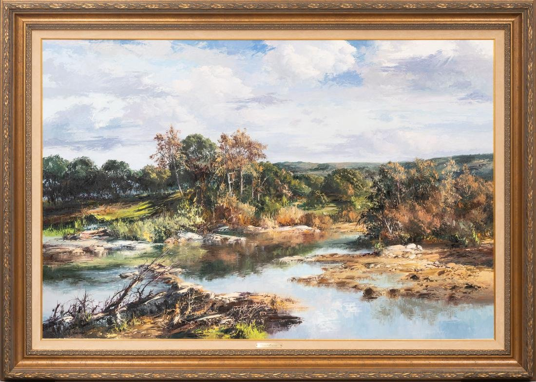 "Jose Vives-Atsara (1919-2004), ""The Creek"" oil 40 x 60"" - 2"