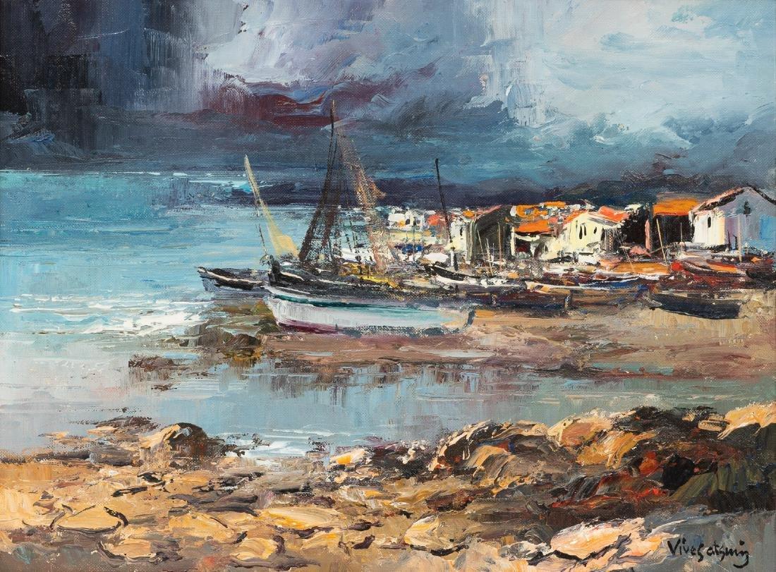"""Jose Vives-Atsara (1919-2004), """"Casas y Barcas"""" 1964"""