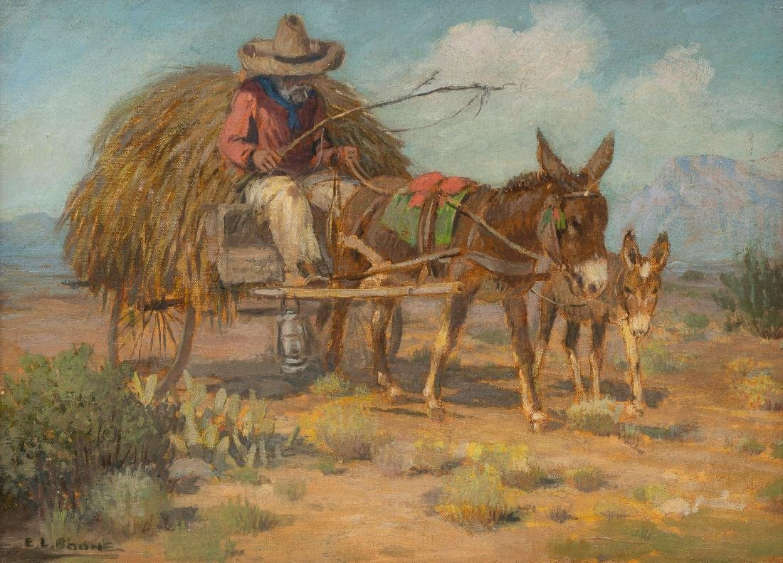 "Elmer L. Boone (1883-1952), ""Mexican with Burro"", oil"