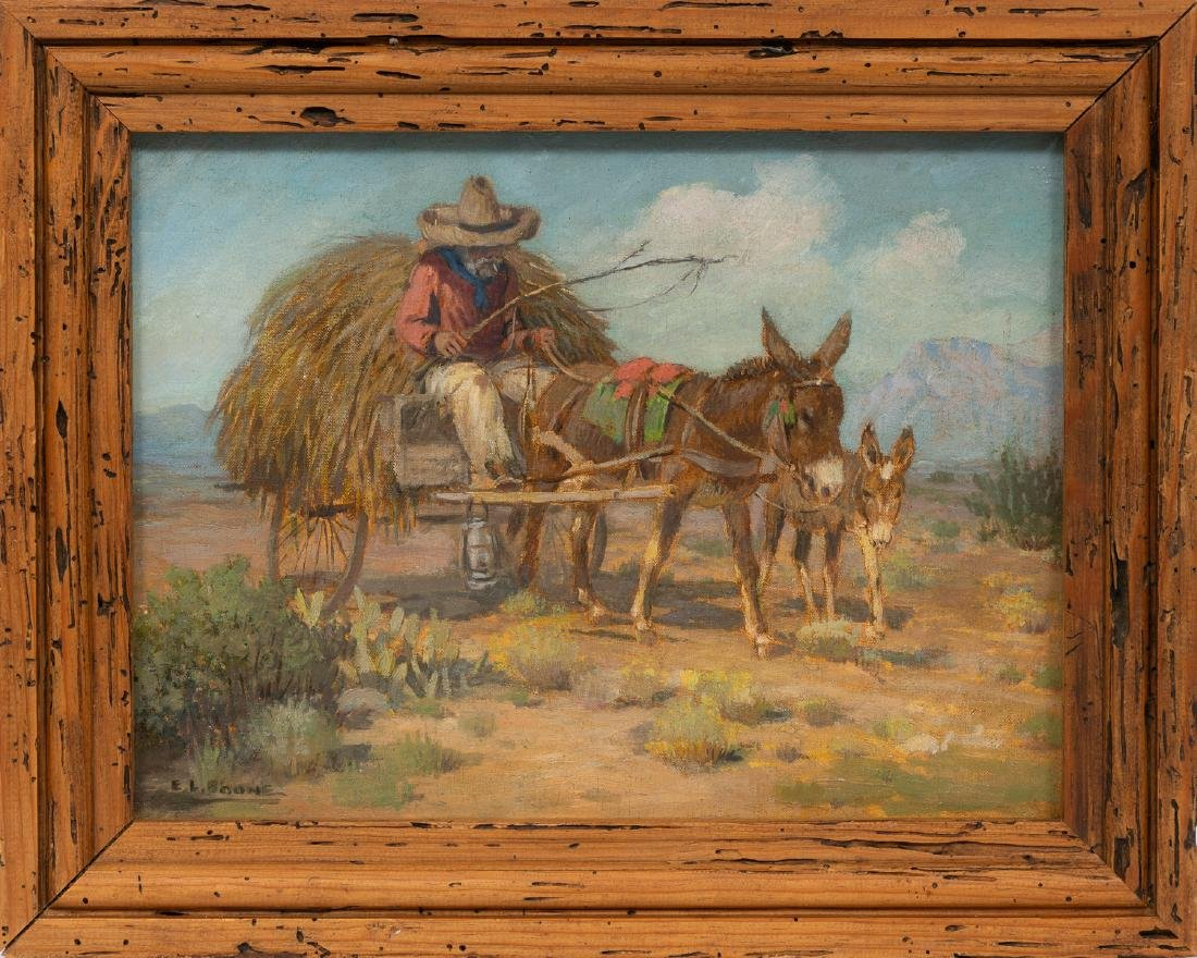 "Elmer L. Boone (1883-1952), ""Mexican with Burro"", oil - 2"