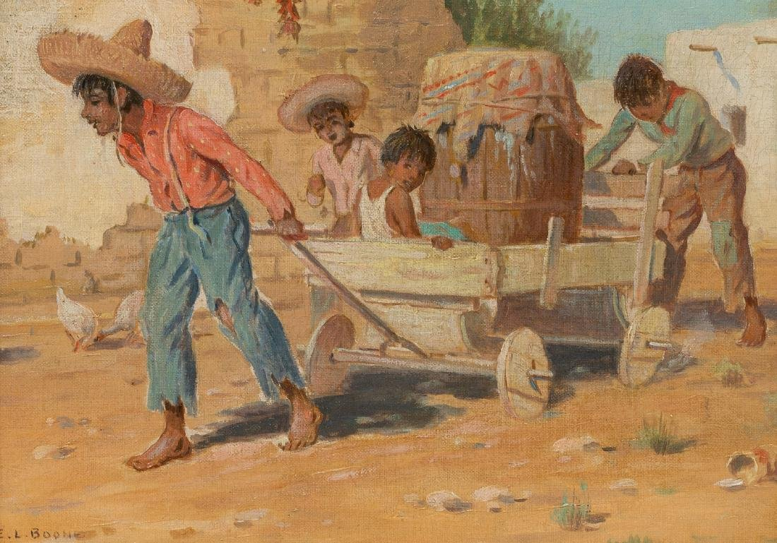 "Elmer L. Boone (1883-1952), ""Wagon Ride"", oil on canvas"