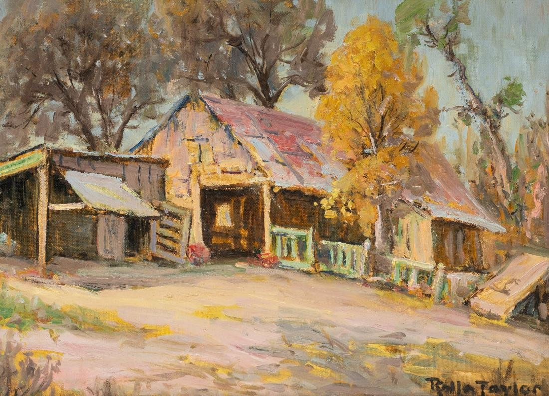 """Rolla Taylor (1872-1970), """"The Old Barn"""", oil, 9 x 12"""""""