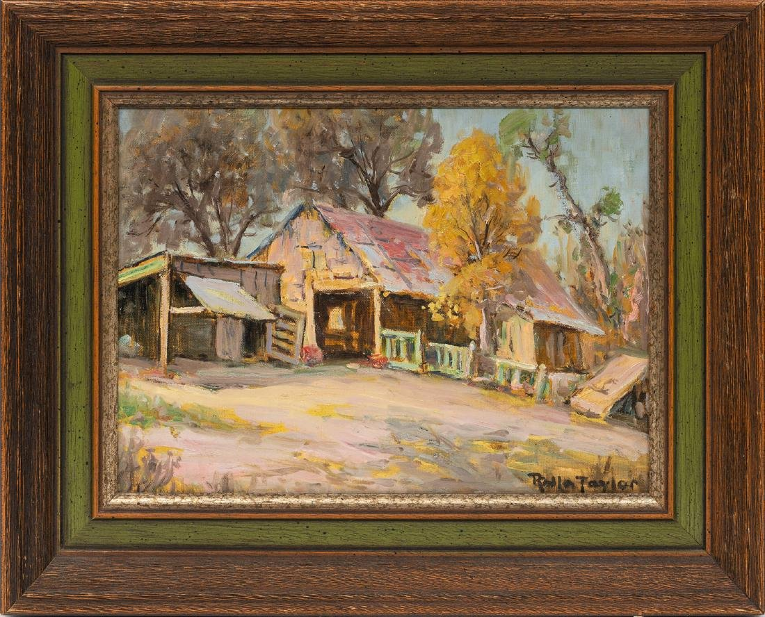"""Rolla Taylor (1872-1970), """"The Old Barn"""", oil, 9 x 12"""" - 2"""
