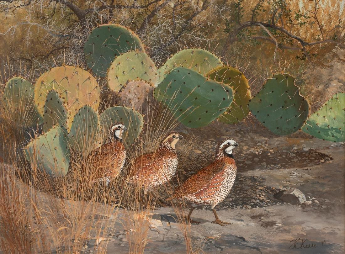 Travis Keese (b. 1932), Quail Family, oil on canvas