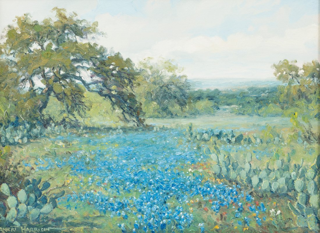 "Robert Harrison, Bluebonnets, oil on canvas, 12 x 16"""
