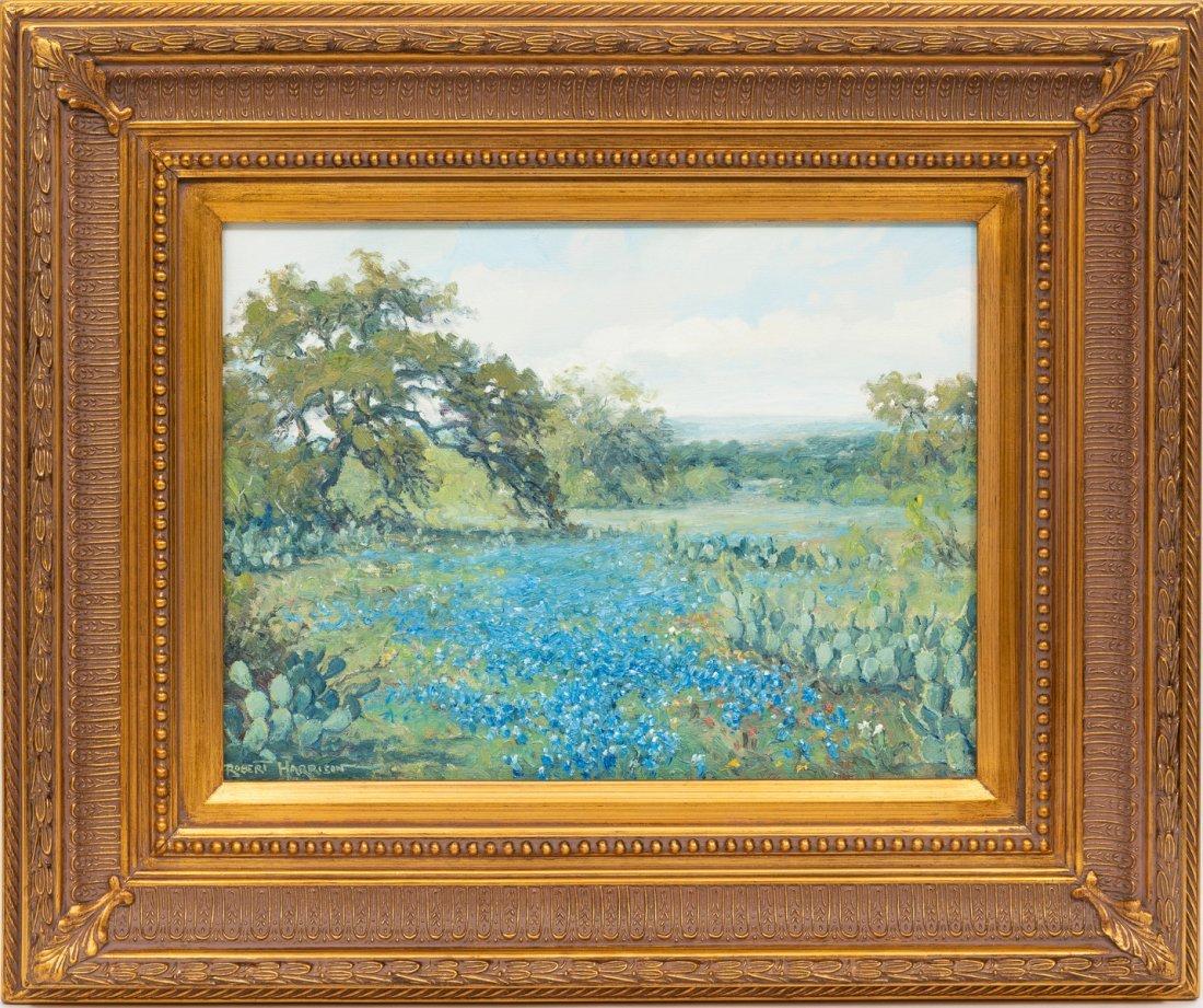 "Robert Harrison, Bluebonnets, oil on canvas, 12 x 16"" - 2"