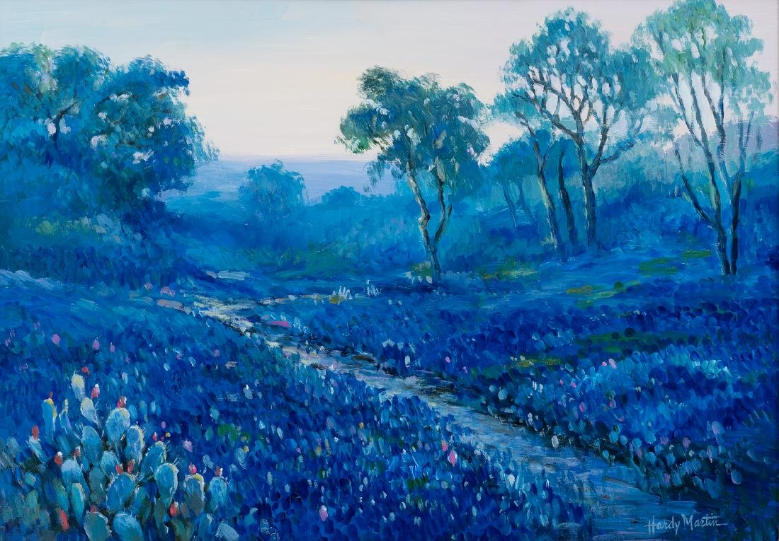 "Hardy Martin, ""Bluebonnet Evening"", oil on board"