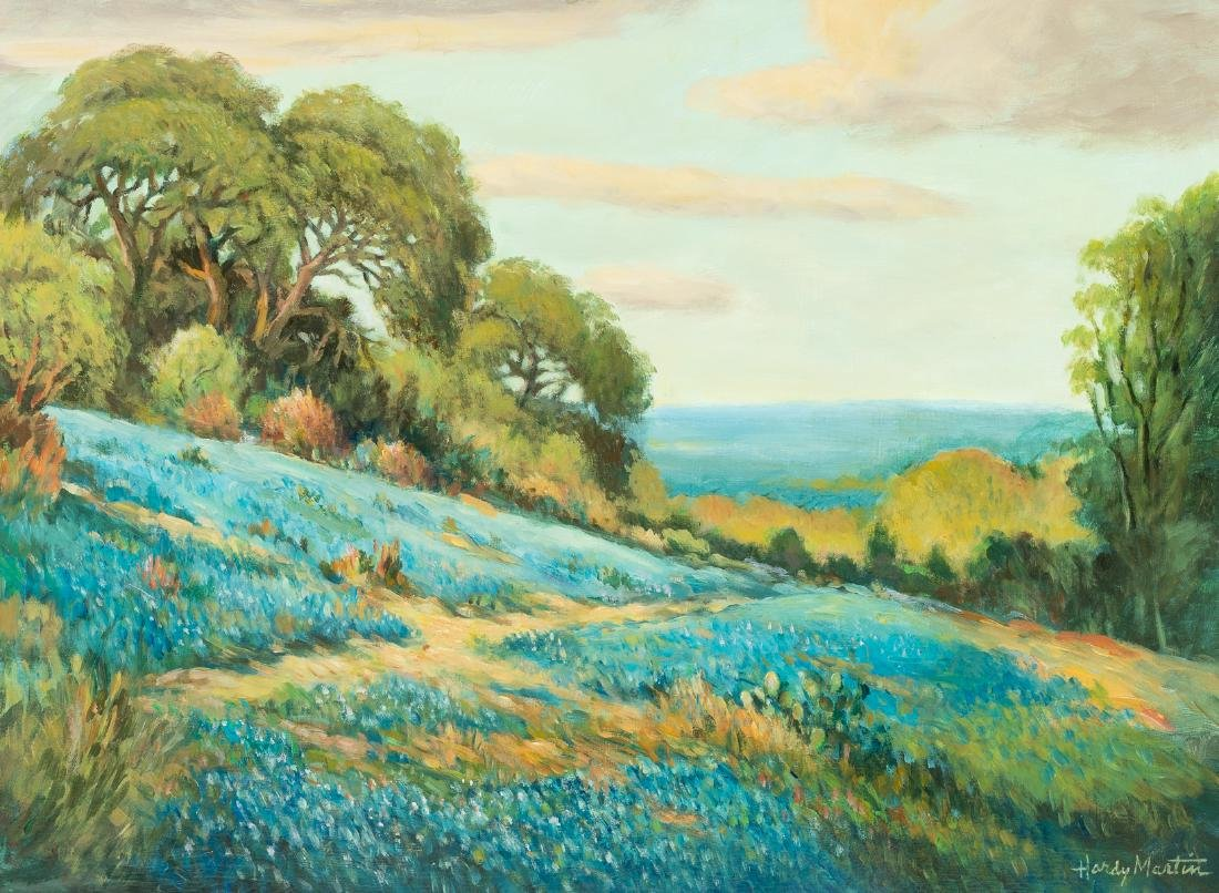 "Hardy Martin, ""Bluebonnet Paths"", oil on board"