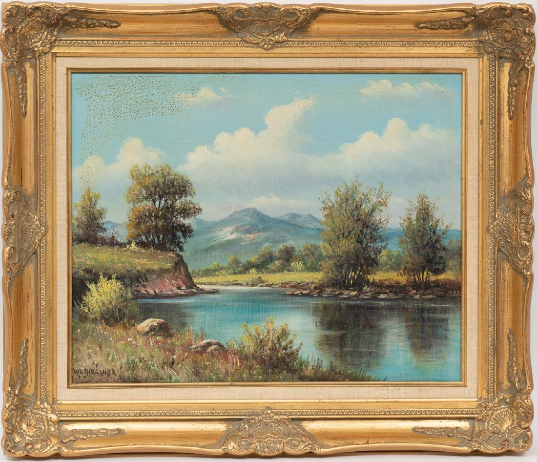 W.R. Thrasher (1908-1997), Riverside, oil on canvas, - 2