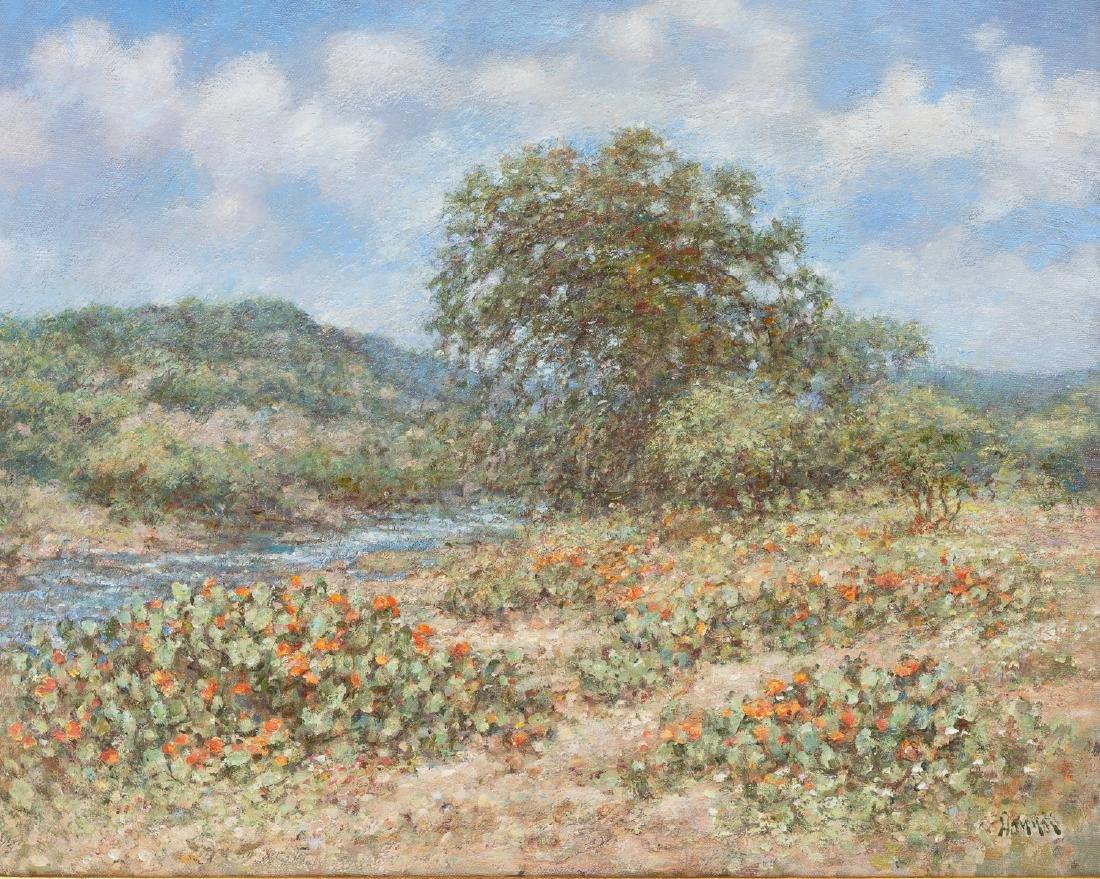 "Robert Hamman, ""Blooming Cactus by the River"", oil"