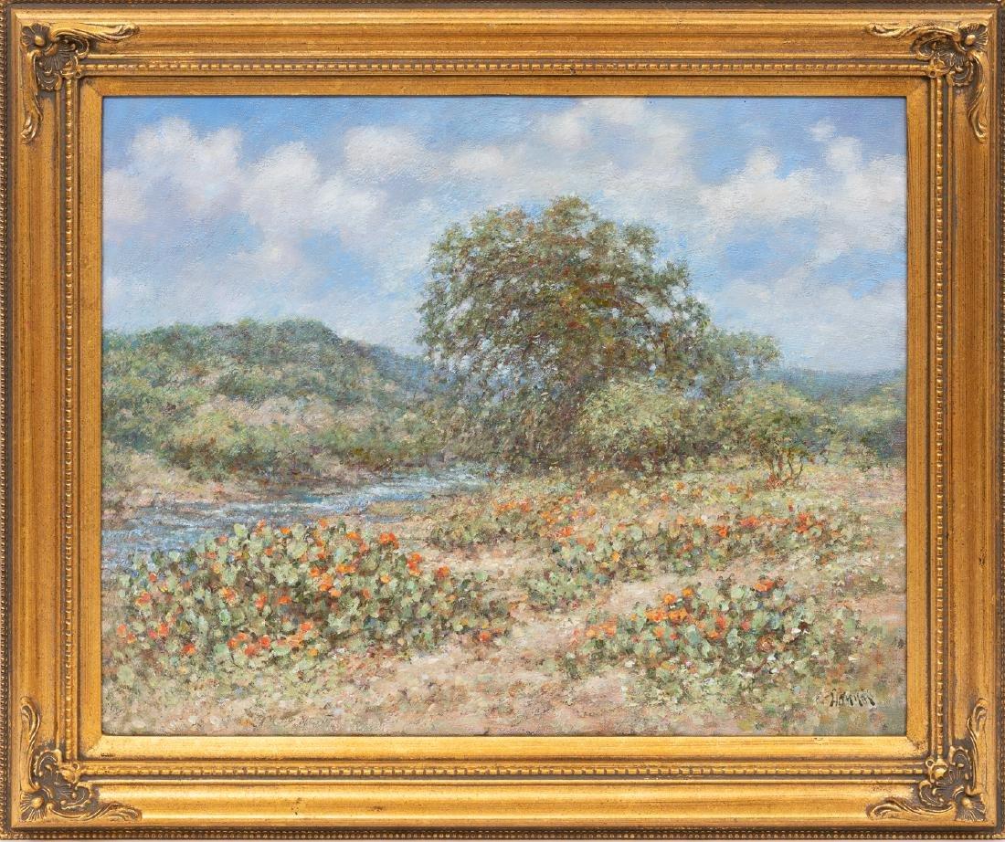 "Robert Hamman, ""Blooming Cactus by the River"", oil - 2"