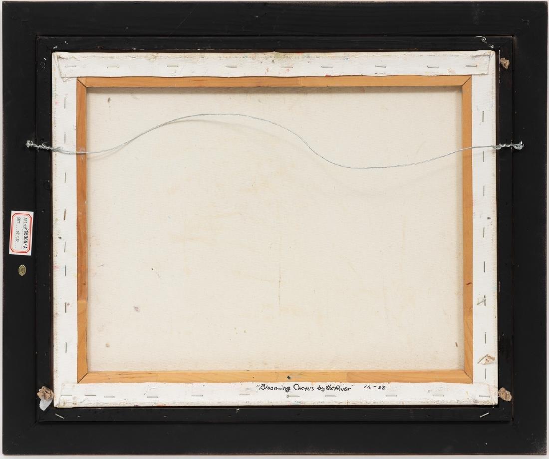 "Robert Hamman, ""Blooming Cactus by the River"", oil - 4"