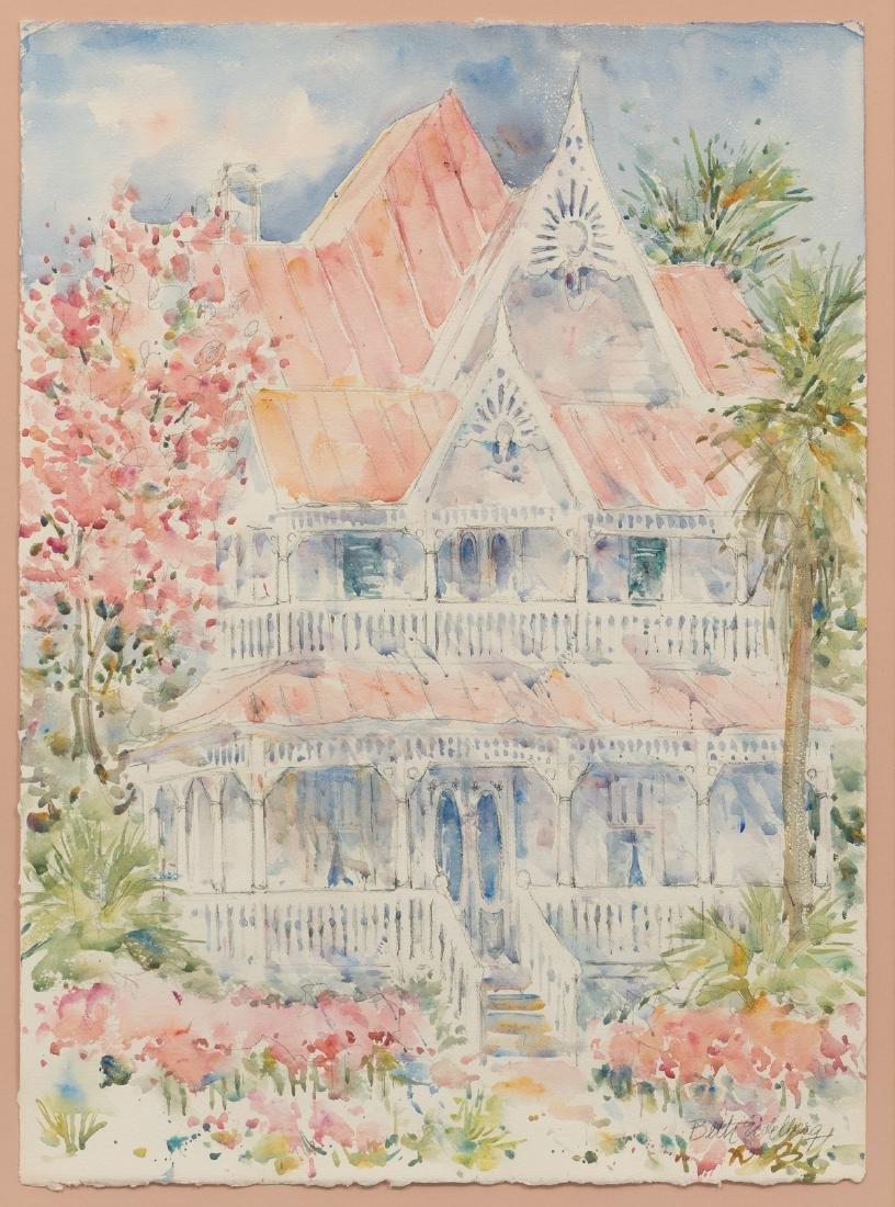 Beth Eidelberg (1933-2018), Victorian Home, watercolor,