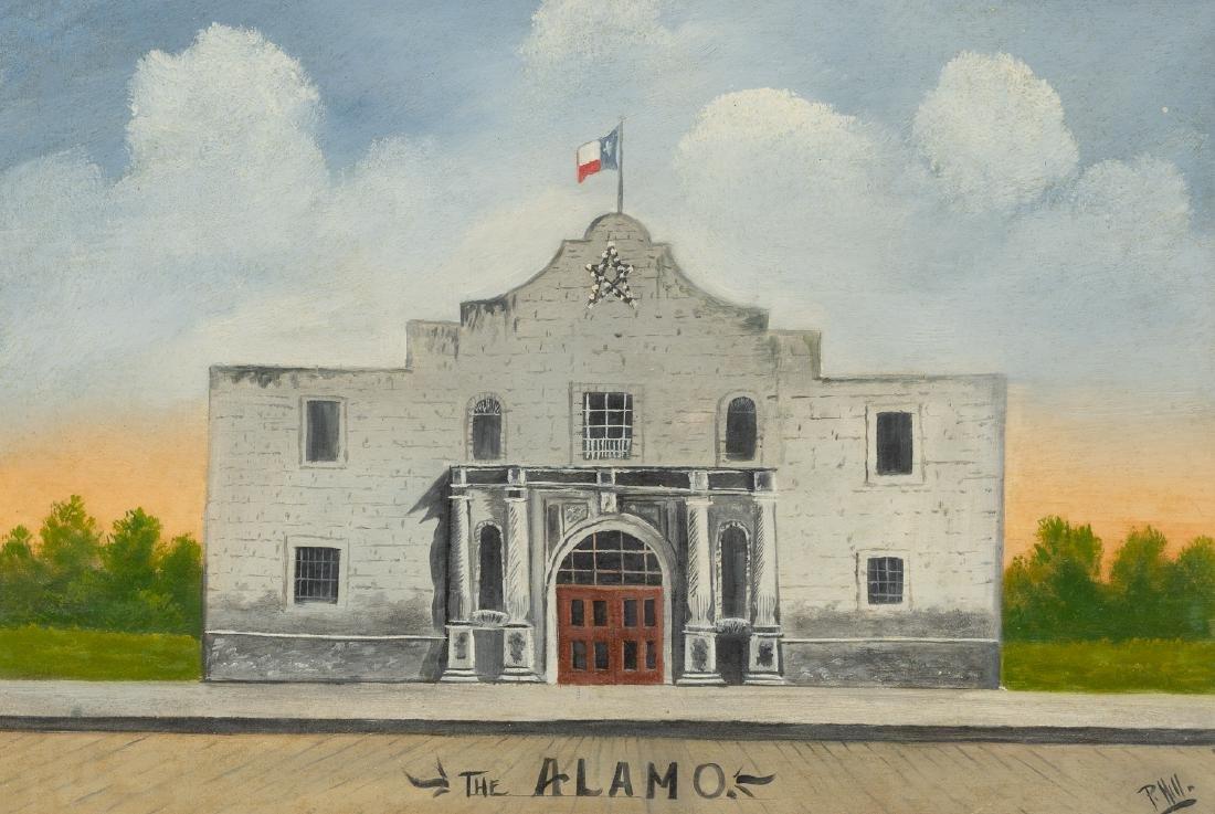 "P. Hill, The Alamo, mixed media, sight: 12 x 18"""