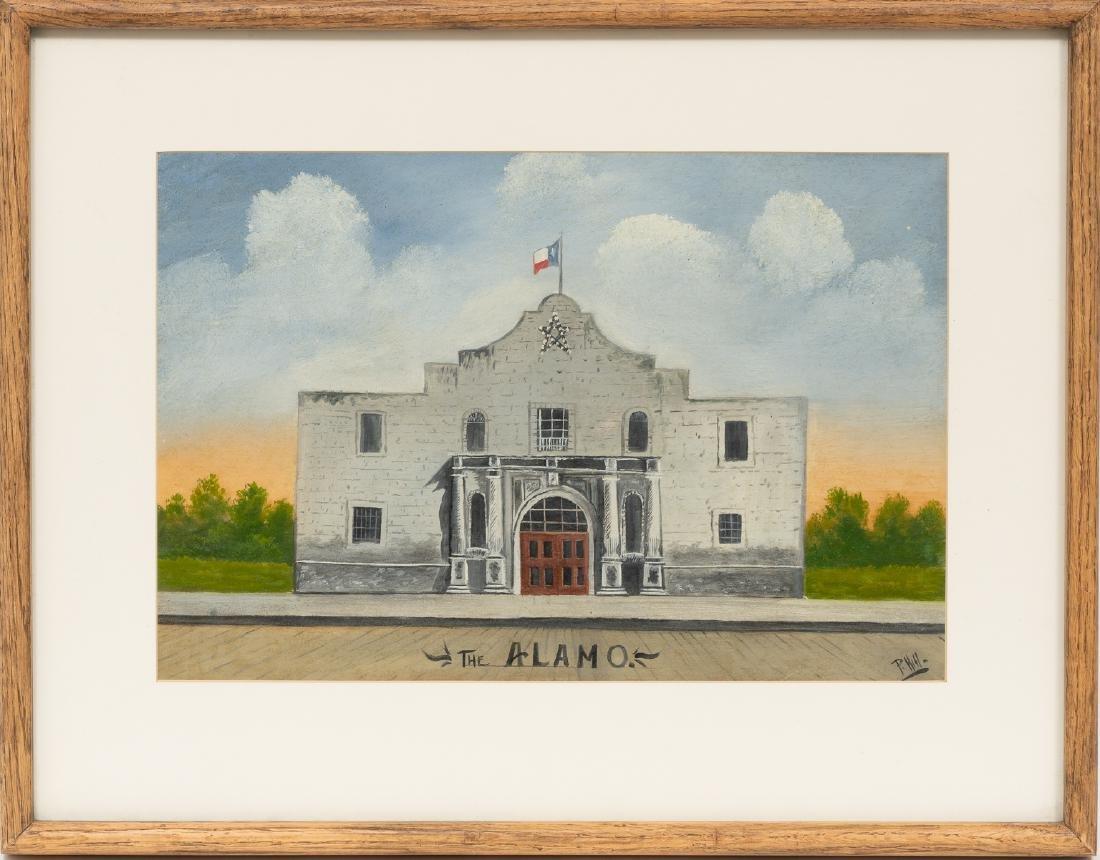 "P. Hill, The Alamo, mixed media, sight: 12 x 18"" - 2"