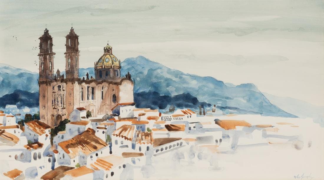 Clay McGaughy (b. 1931),Taxco Cathedral, watercolor
