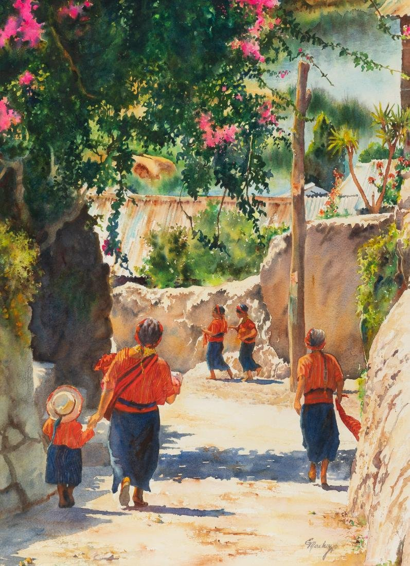 Edith Maskey, Mexican Village, watercolor