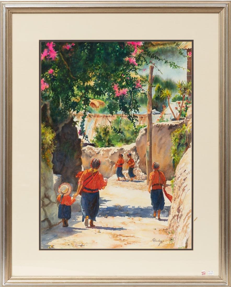 Edith Maskey, Mexican Village, watercolor - 2