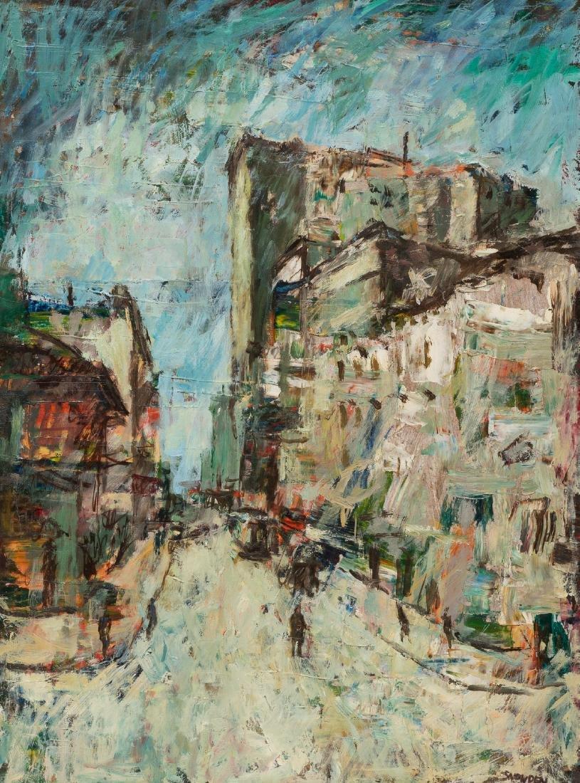 Chester Snowden (1900-1984), Expressionist Street Scene