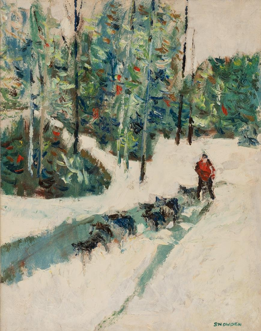 Chester Snowden (1900-1984), Dog Sledding, oil