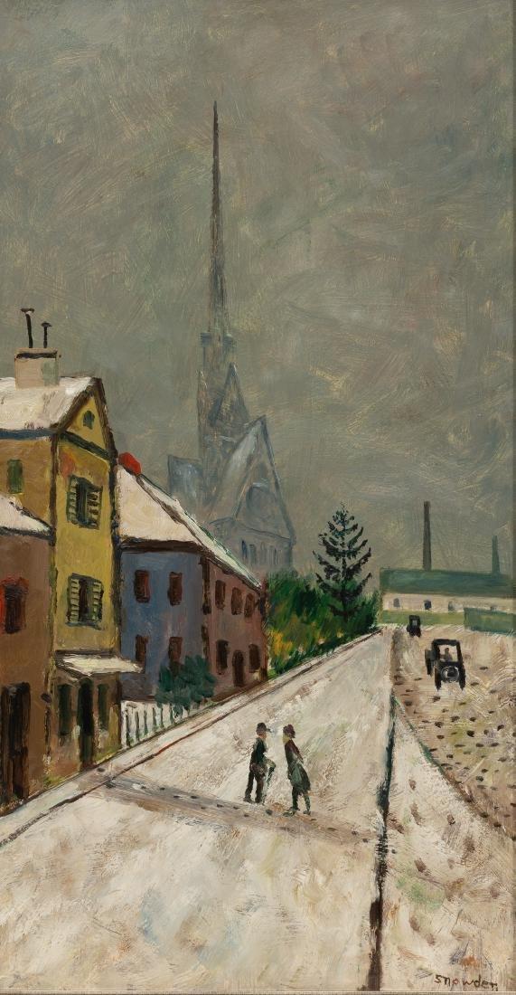 Chester Snowden (1900-1984), Village Church, oil