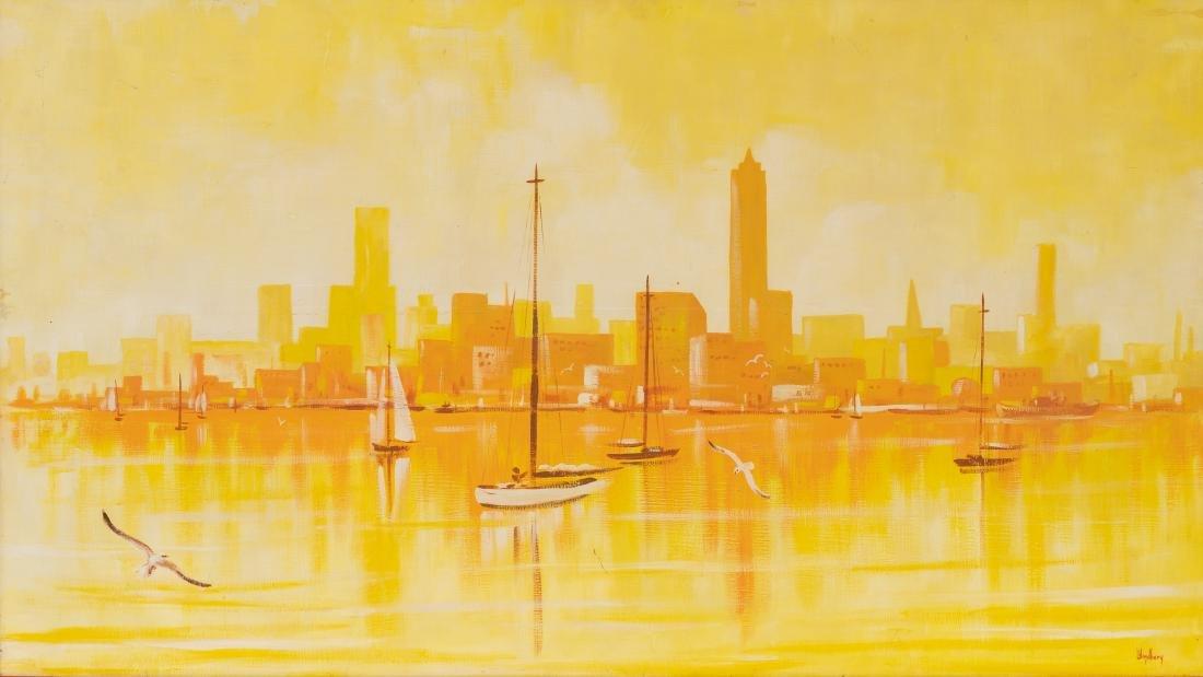 Dalhart Windberg (b. 1933), Modernist Sailboats, oil