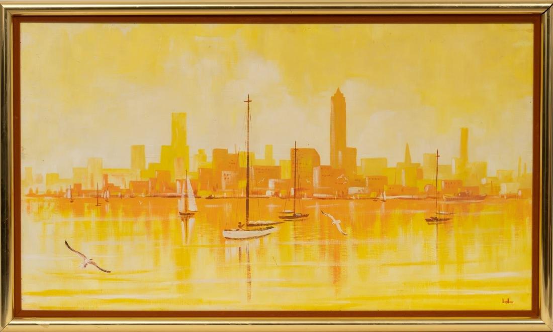 Dalhart Windberg (b. 1933), Modernist Sailboats, oil - 2