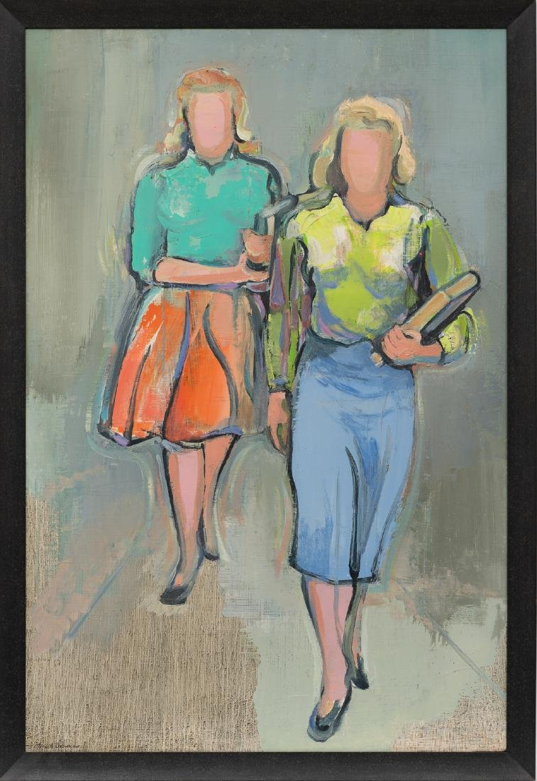 David Brownlow (1915-2006), Two Women, oil on panel, - 2