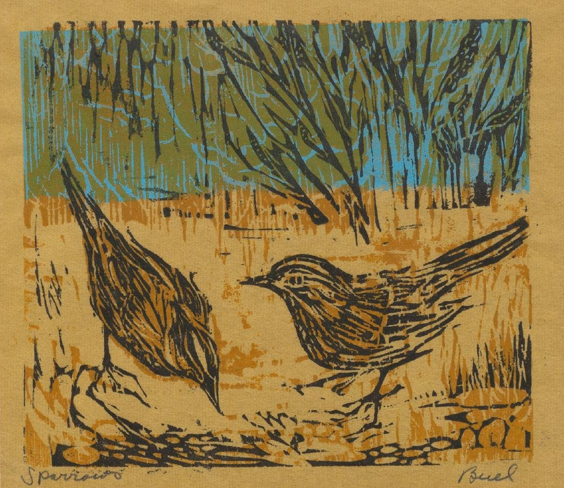 """Nellie Buel (1908-2002), """"Sparrows"""", woodblock,"""
