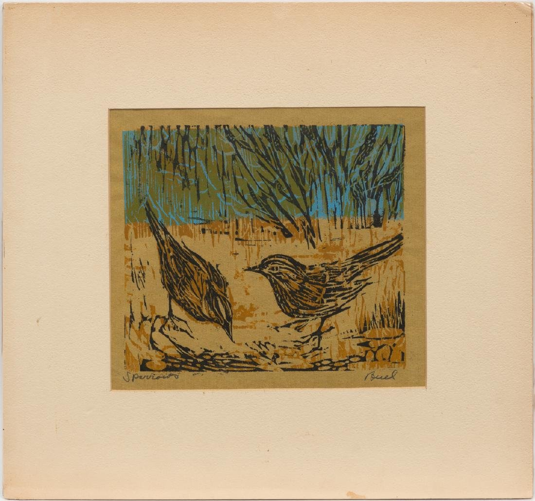 """Nellie Buel (1908-2002), """"Sparrows"""", woodblock, - 2"""