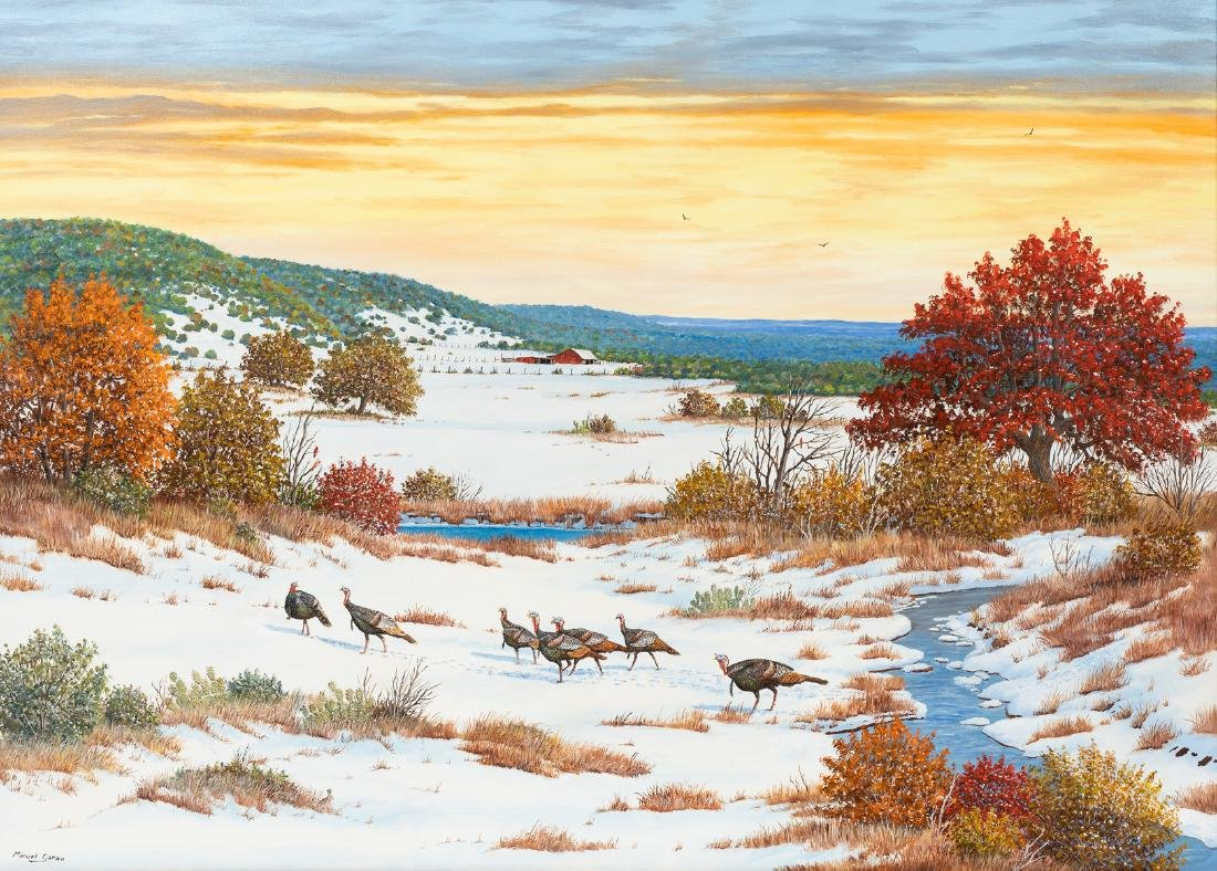 "Manuel Garza (b. 1940), ""Wild Turkeys in the Snow"", oil"