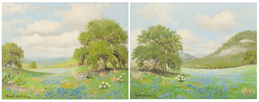 Robert Harrison, Pair of Bluebonnet paintings, 1976