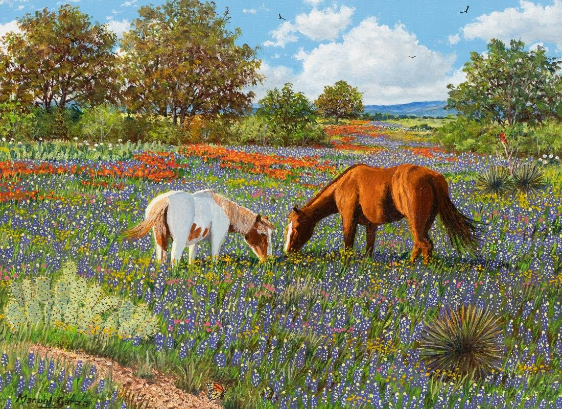 """Manuel Garza (b. 1940), """"Two Horses in Bluebonnets"""" oil"""