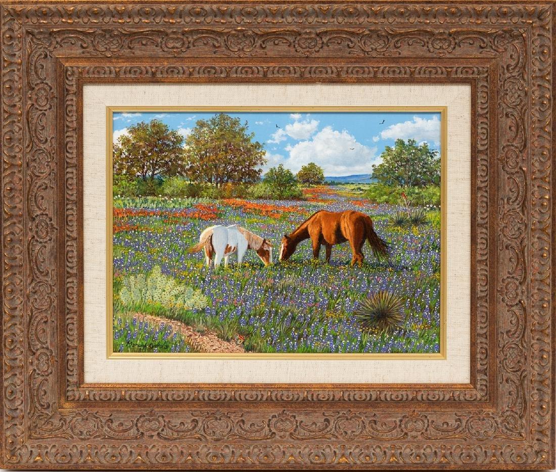 """Manuel Garza (b. 1940), """"Two Horses in Bluebonnets"""" oil - 2"""